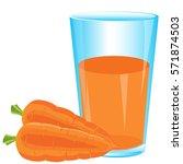 juice from carrot on white... | Shutterstock .eps vector #571874503