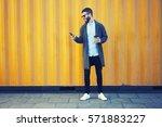 handsome bearded male hipster...   Shutterstock . vector #571883227
