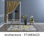living room grey wall with... | Shutterstock . vector #571883623