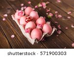 Pink Easter Eggs On Wodden...