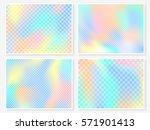 holographic backgrounds set.... | Shutterstock .eps vector #571901413