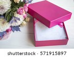 Blank Pink Box With Flowers On...