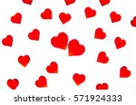 bright red hearts on a striped... | Shutterstock . vector #571924333