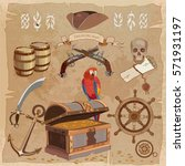 old pirate treasure map vintage ... | Shutterstock .eps vector #571931197