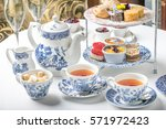 old school style tea at five... | Shutterstock . vector #571972423