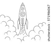 rocket takes off. isolated on... | Shutterstock .eps vector #571986067