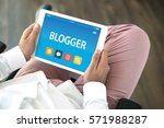 blogger concept on tablet pc... | Shutterstock . vector #571988287