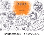 indian cuisine top view frame.... | Shutterstock .eps vector #571990273