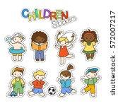 set of cute doodle children in... | Shutterstock .eps vector #572007217