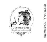 hand drawn logo for cafe ... | Shutterstock .eps vector #572016163