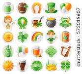 happy patrick day icon set ... | Shutterstock .eps vector #572019607