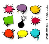 Empty comic collection colored cloud pop art vector box. Set message comic bubble speech cartoon expression illustration. Comics book background template. | Shutterstock vector #572032663