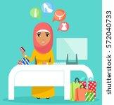 the concept of buying online.... | Shutterstock .eps vector #572040733