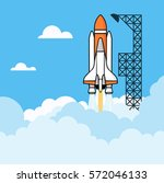 shuttle on the launch pad... | Shutterstock . vector #572046133