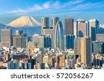 tokyo skyline and mountain fuji ... | Shutterstock . vector #572056267