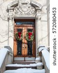 front doors decorated with... | Shutterstock . vector #572080453