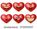 funny cartoon red heart... | Shutterstock .eps vector #572095507
