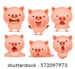 collection of funny pig... | Shutterstock .eps vector #572097973