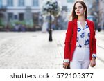 female fashion concept. outdoor ... | Shutterstock . vector #572105377