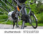 electric bicycle in the park in ... | Shutterstock . vector #572110723