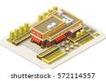 isometric cafe building... | Shutterstock .eps vector #572114557