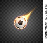flying burning football ball on ...
