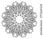zentangle feather mandala  page ...   Shutterstock .eps vector #572164123