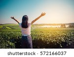 woman stretching fresh air | Shutterstock . vector #572166037