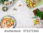 workspace with easter... | Shutterstock . vector #572171563