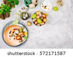 workspace with easter... | Shutterstock . vector #572171587