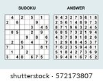 vector sudoku with answer 43.... | Shutterstock .eps vector #572173807