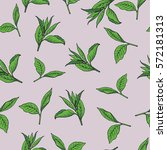 seamless pattern with green tea ... | Shutterstock .eps vector #572181313