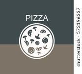 pizza with salami and mushrooms.... | Shutterstock .eps vector #572196337