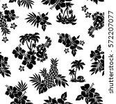 hibiscus flower pattern | Shutterstock .eps vector #572207077