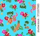 hibiscus flower pattern | Shutterstock .eps vector #572207083