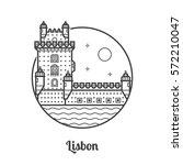 travel lisbon icon. belem tower ... | Shutterstock .eps vector #572210047