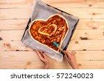 pizza heart love valentine's... | Shutterstock . vector #572240023