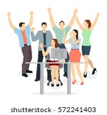 happy office workers. isolated... | Shutterstock .eps vector #572241403