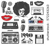 vintage 90s style elements set... | Shutterstock .eps vector #572243263