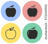 apple vector icons set. black...