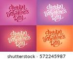 happy valentines day hand...   Shutterstock .eps vector #572245987