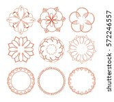 set of hand drawn flowers and... | Shutterstock .eps vector #572246557