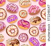 colorful donuts with sprinkles... | Shutterstock .eps vector #572248147