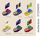 set of isometric 3d ships with... | Shutterstock .eps vector #572254093