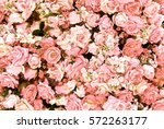 Stock photo pink rose flowers bouquet background for valentine s day decoration top view 572263177