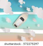 yatch ship paper art style... | Shutterstock .eps vector #572275297