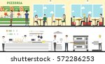 pizzeria interior set with... | Shutterstock .eps vector #572286253