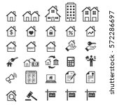 real estate icons. vector... | Shutterstock .eps vector #572286697