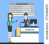 check in airport with lady on... | Shutterstock .eps vector #572286853