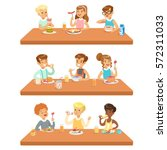 kids eating brekfast and lunch... | Shutterstock .eps vector #572311033
